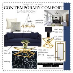 """Design of the Day: """"Contemporary Comfort"""" Living Room by cmvinteriordesigner on Polyvore featuring interior, interiors, interior design, home, home decor, interior decorating, Eichholtz, Renwil, Mitchell Gold + Bob Williams and Bloomingville"""