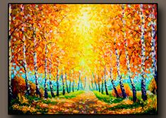 Buy painting Autumn landscape painting Gold autumn alley - original painting for sale by Rybakow Bright Paintings, Buy Paintings, Oil Painting Flowers, Artist Painting, City Landscape, Landscape Paintings, Original Paintings For Sale, Painting Wallpaper, Fine Art