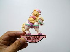 Teddy on sled teddy bear ornament collection by avon teddy bear 1992 forget me not babys first christmas american greetings with box m4hsunfo Image collections