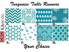 "Blue Table Runner-Turquoise Table Runner.Turquoise & White Table Cloth- 12"" x  60"" or 12"" x 72"" or 12 x 108"" on Etsy, $15.00"