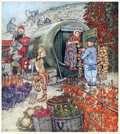 Mr. and Mrs. Vinegar at home. Arthur Rackham, frontispiece from English fairy tales, retold by Flora Annie Steel, New York, 1922. (Source: archive.org.)
