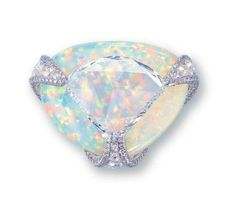 Diamond and white opal ring