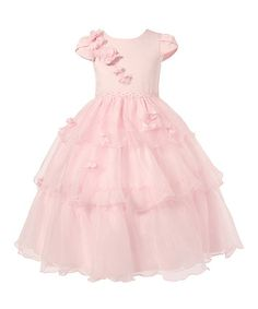 Another great find on #zulily! Pink Rosette Cap-Sleeve Dress - Girls #zulilyfinds
