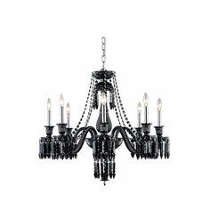 Majestic 8 Light Crystal Chandelier Finish: Black - http://chandelierspot.com/majestic-8-light-crystal-chandelier-finish-black-604571280/