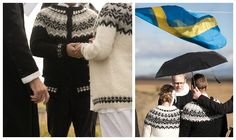 Is it always cold in Iceland? This bride and groom sport wedding sweaters made by the bride's mother while they tie the knot