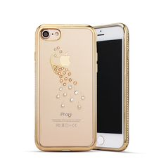 Rhinestone Case Silicone for iPhone 6 s Case for iPhone 7 Ultra-slim Transparent Soft Case Luxury Swan Peacock Pattern   iPhone Covers Online