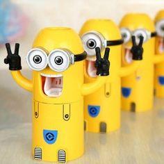 Cute Zwei Augen Despicable Me Minion Design Wash Set Zahnbürstenhalter automatische Zahnpasta Spender mit Bürste Tasse