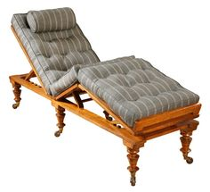 """Campaign couch Ca1880 England. 35""""H x 21.75""""W x 72""""D."""