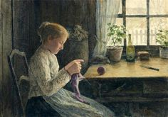 """Knitting Girl by the Window"" by Albert Anker"