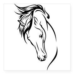 """Line Drawn Horse Head Square Sticker 3"""" x 3"""""""