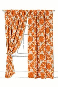 Bedding on pinterest 16 photos on bedding pine cone - Curtains with orange walls ...