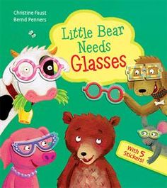 """Little Bear can't see very clearly, and his friends are worried! Dog, Mouse, Pig and Cow all offer their glasses, but they're not quite right. Little Bear still can't see very well! He needs glasses of his very own! Little readers will love helping Little Bear pick out the pair that are """"just right"""" for him using the 5 repositionable, reusable stickers."""