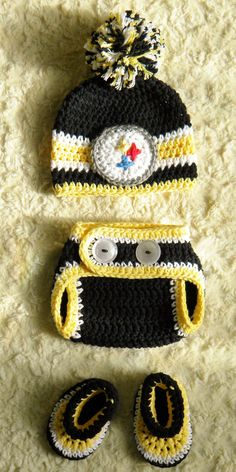 Pittsburgh Steelers Football Baby Crochet pom-pom hat b9ca3d844
