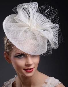 White Fascinator Hat - Couture White Sinamay Fascinator with white Birdcage Veiling & Feathers