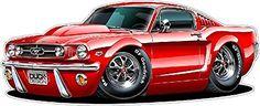 "1965 Mustang GT Fastback 289 Cartoon Car Wall Graphic 24"" x 48"" 4Ft Long Decal Sticker Man Cave Garage Decor Boys Room Decor"
