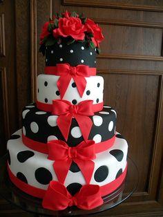 Red, White, and Black Polka Dot Cake.