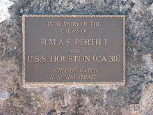 Commemorative plaque for HMAS Perth and USS Houston at Rockingham Naval Memorial Park Uss Houston, Memorial Park, United States Army, World War Two, Perth, Battle, Sea, History, Boats