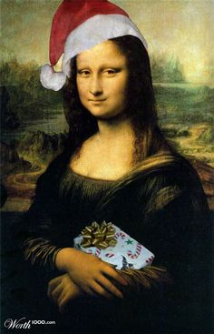 Mona Lisa wears Santa hat