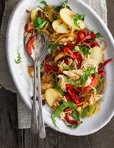 This Catalan roast chicken, potato and pepper salad is quick and easy to make and a great way to use Jersey Royals Potato Recipes, Chicken Recipes, Chicken Meals, Savoury Recipes, Cooking Recipes, Healthy Recipes, Bbc Recipes, Meal Recipes, Chicken Potatoes