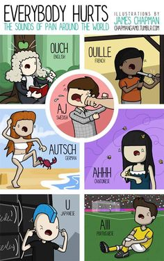 Everybody Hurts: The Sound of Pain Around the. - Everybody Hurts: The Sound of Pain Around the World No pain, no gain. (by chapmangamo) Everybody Hurts, It Hurts, James Chapman, Intercultural Communication, Learn Another Language, Different Languages, World Languages, Learn Languages, Expressions