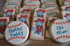 Ole Miss sugar cookies - Hotty Toddy, Colonel Reb, Ole Miss baseball