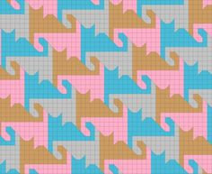 "Fancy tessellating cat quilt pattern, tails curled. Go to http://calculus-geometry.hubpages.com/ Search for ""Easy Triangle Quilting Patterns"" Scroll down to ""Some Tessellating Quilt Block Patterns"" Click on the little cat design as in the picture"