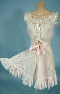 c. 1910 White Cotton Batiste Lacy Camibloomers with Ribbons and Bows!