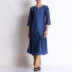 Navy Blue Chanderi Kurta With Khari Printed Pallazo Indian Salwar Kameez, Kurta Designs Women, Dress Designs, Designer Dresses, Navy Blue, Spaces, Suits, Printed, Casual