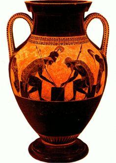 Vaso grego com ilustração de guerreiros jogando um jogo de tabuleiro