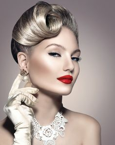 Find Beauty Retro Woman Portrait Glamour Lady stock images in HD and millions of other royalty-free stock photos, illustrations and vectors in the Shutterstock collection. Pin Up Retro, Style Retro, Vintage Hairstyles, Wedding Hairstyles, Glamour Ladies, Different Hairstyles, Perfect Makeup, Hair Pictures, Woman Face