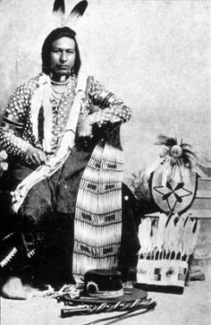 Cayuse/Nez Perce man known as Tauitau or Tu Ah Tway poses with headdress and other beaded objects :: American Indians of the Pacific Northwest