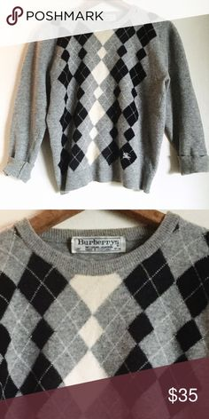 """Vintage Burberry argyle wool grey sweater Vintage Burberry argyle wool sweater. Made in Scotland. 19"""" pit to pit, 22"""" long. Some tiny moth bites under arms, etc, but nothing on the face of the sweater. I would only say minor wear. Burberry Sweaters Crew & Scoop Necks"""