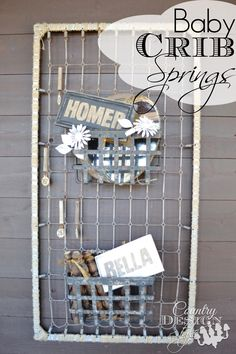 What would you for a diy idea with baby crib springs?  I wrapped the metal frame with twine then hung fun junky stuff.  Including old cow tags for decor on our home's front porch.  Country Design Style