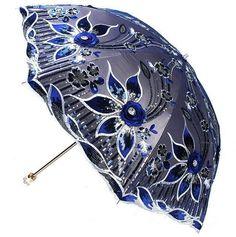 New Women Elegant Embroidery lace Parasol Lady Anti UV Sun Rain Folding Umbrella #YALI #Parasol