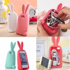 Cute Rabbit Storage Silicone Case For Iphone 4/4S/5for big sale