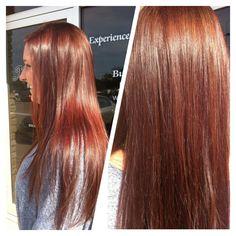 Long Hair. Deep Red Hair Color.
