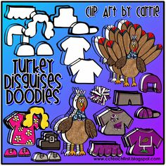 Clip Art by Carrie Teaching First: Turkey Disguises Doodles
