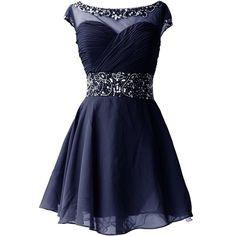 Dresstells Knee Length Prom Dress for Girls Short Homecoming Dress (270 BRL) found on Polyvore featuring dresses and short dresses