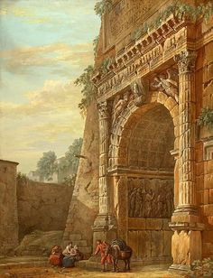 Charles-Louis Clérisseau-Triumphal Arch of Titus in Rome and pen and brown wash Ancient Ruins, Ancient Rome, Ancient Greece, Historical Architecture, Ancient Architecture, Rome Painting, Building Painting, Arch Of Titus, Carl Spitzweg