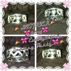 """HP Coach Filigree Heart Ring Host Pick6-6-14""""Everything Darling"""" PartyAuthentic ***This beautiful Coach """"Miranda"""" ring is absolutely gorgeous! Filigree hearts covered in Swarovski crystals adorn this sturdy yet delicate ring. Ring is size US 8, but runs in the smaller side and is better suited to a size 7-7.5 finger. ***Excellent Used Condition*** **worn twice** Coach Jewelry Rings"""