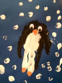 Witzige Pinguine #handprint #craft # craftforkids #pinguin #diy #penguin