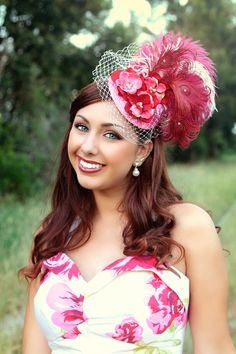 2b7910f85b9 The power of Pink Derby Style Fascinator. Tea Party AttireTea Party  OutfitsParty HatsParty ...