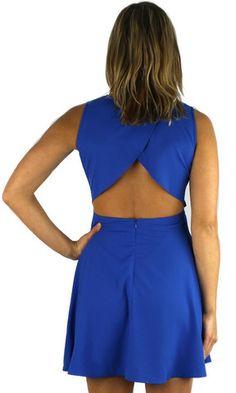 Open Flap Back Flounce Dress - Royal Blue