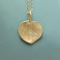 14k Gold Leaf Necklace  Tiny Aspen Leaf by esdesigns on Etsy