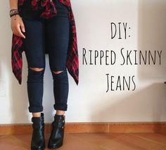 DIY Ripped (Knee) Skinny Jeans