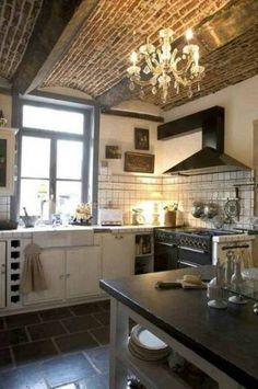 old world kitchens | ... kitchen remodel ideas brick , kitchen beams ideas, old world kitchen