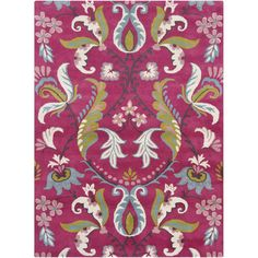 Stylishly anchor your living room or master suite with this hand-tufted wool rug, showcasing a whimsical damask-inspired motif in magenta.    ...