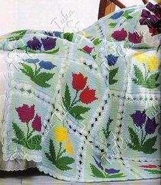 crochet blanket with flowers tulips Crochet Afghans, Crochet Quilt, Crochet Blocks, Afghan Crochet Patterns, Crochet Squares, Crochet Home, Crochet Granny, Crochet Motif, Crochet Flowers