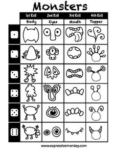 Monster Dice Drawing Sheet- math center freebie- I Need my Monster tie in. Kids make their own monster. Art Handouts, Monster Drawing, Doodle Monster, Drawing Sheet, Drawing Art, Art Worksheets, Ecole Art, Art Classroom, Art Activities