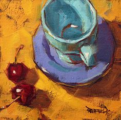 I like Cathleen Rehfeld use of the under paint, bright colors, loose strokes and her close ups of ordinary objects.